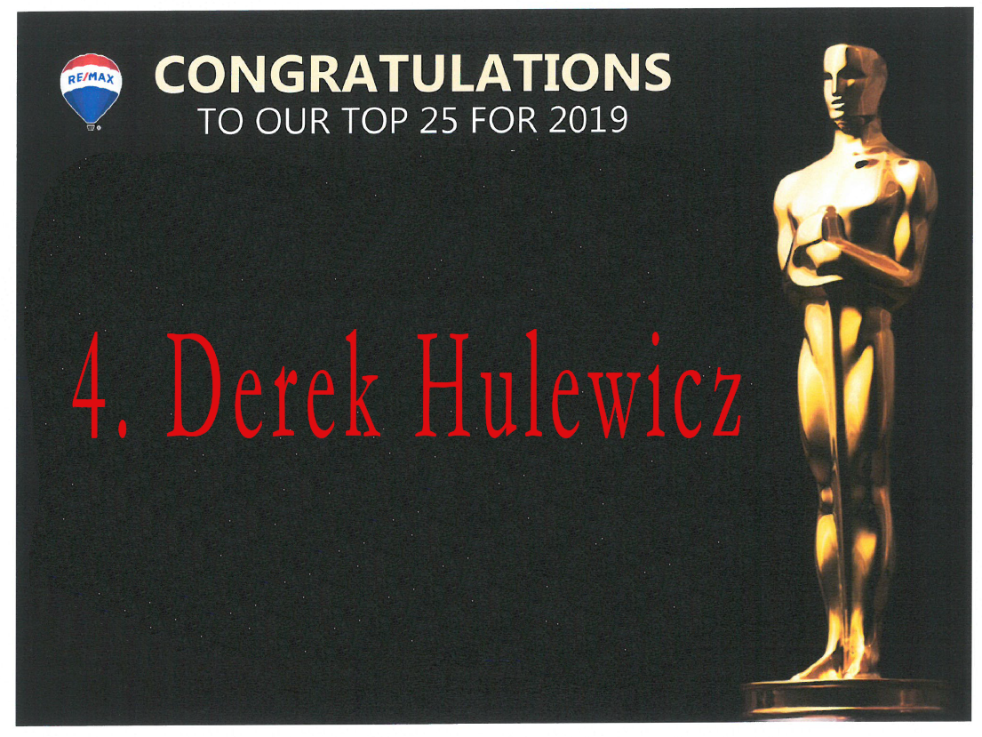 #4 remax realtor in 2019 derek hulewicz