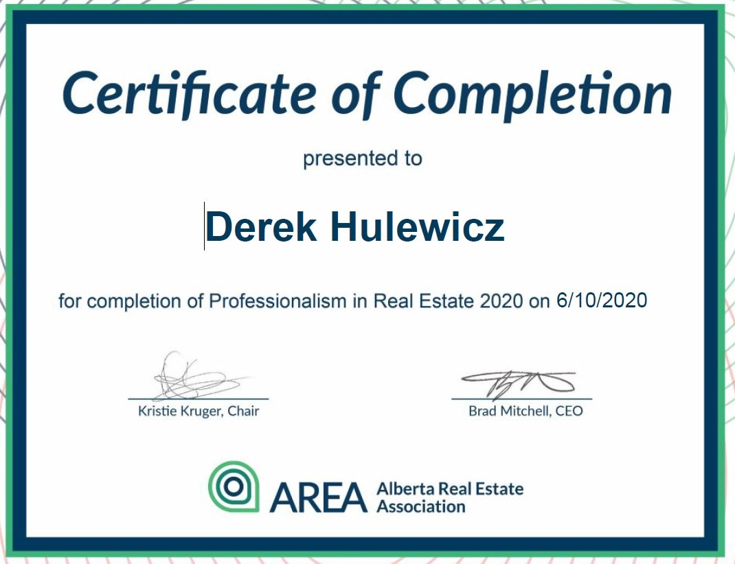 completion of porfessionalism in real estate 2020