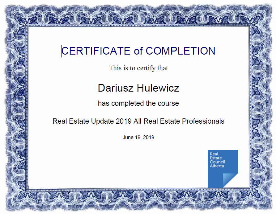 real estate update course finished by derek hulewicz