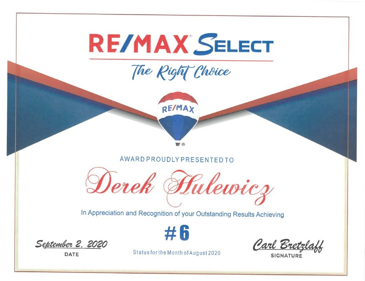 derek hulewicz top 10 realtor in august 2020
