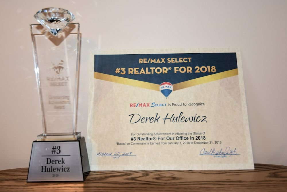 certificate of achievement top remax realtor derek hulewicz