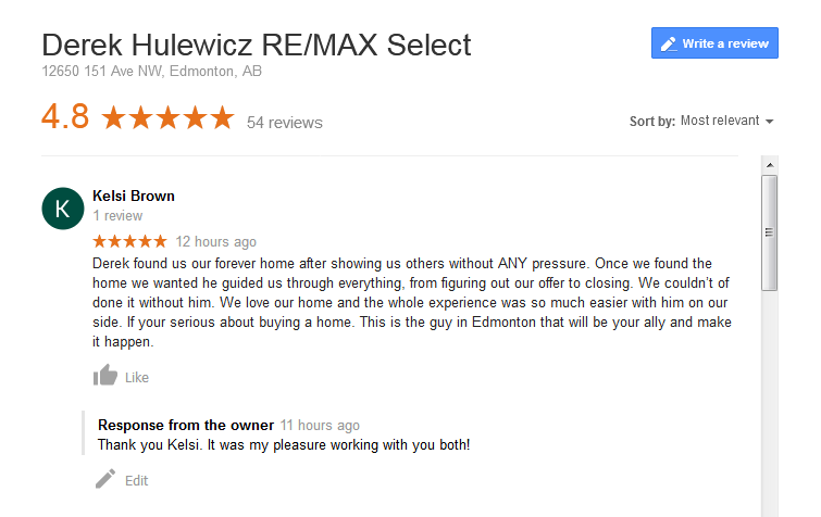 google review derek hulewicz remax