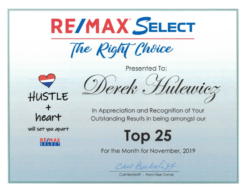 derek hulewicz top 25 remax realtor in edmonton in november of 2019