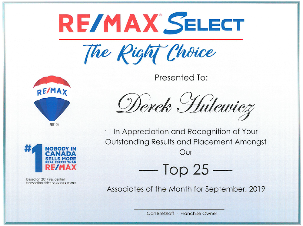 top edmonton realtor & agent in september of 2019 Derek Hulewicz
