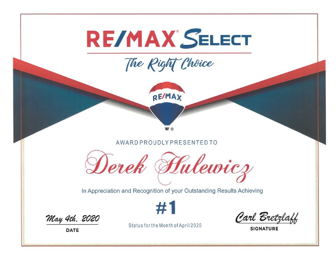 derekhulewicz number 1 realtor in remax select in april of 2020