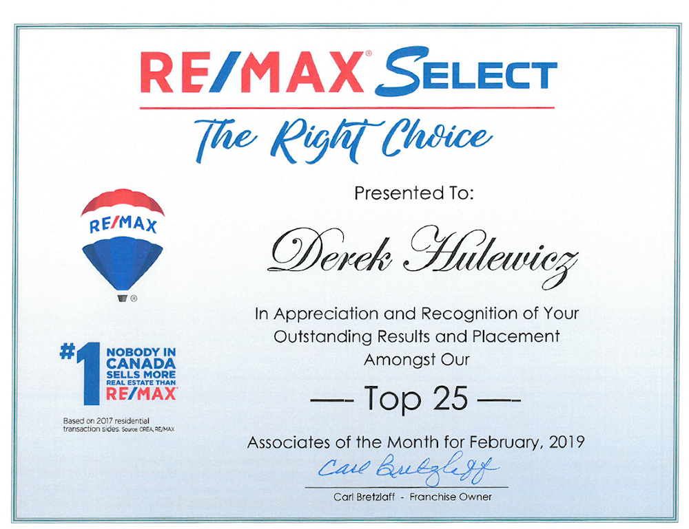 derek hulewicz top realtor in remax select in february of 2019
