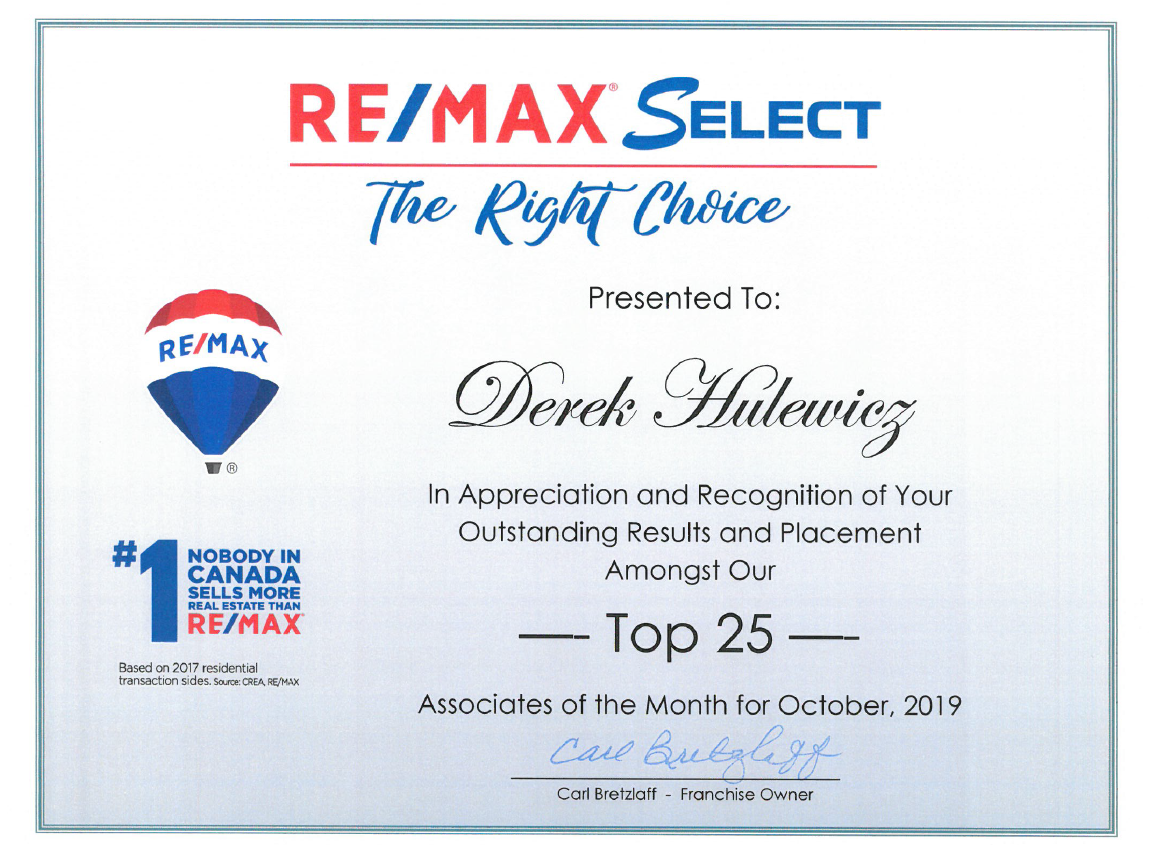 top remax realtors for october of 2019 derek hulewicz