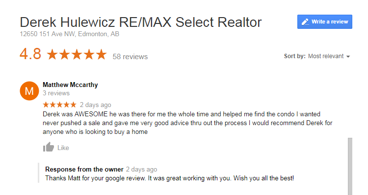 google review for derek hulewicz realtor