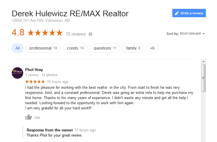 google review derek hulewicz remax top realtor