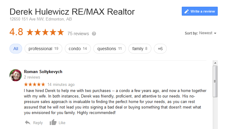 google review derek hulewicz realtor remax select