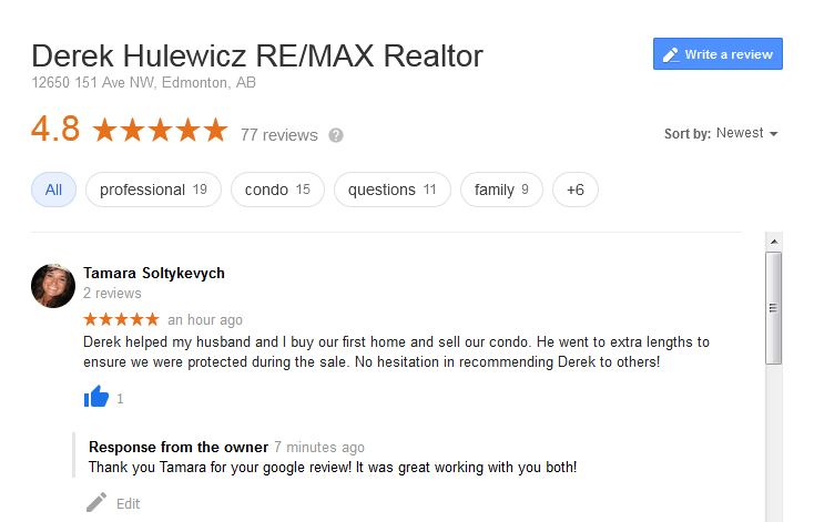 google review for top remax agents; Derek Hulewicz Realtor