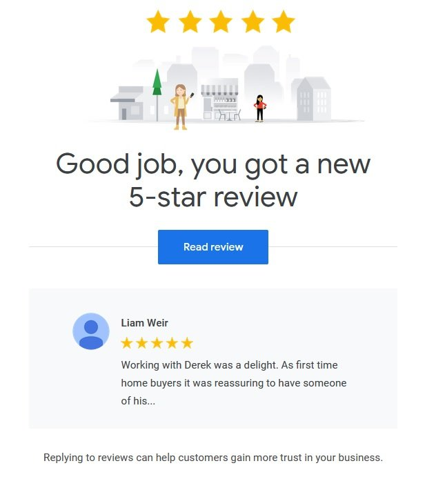 another buyer's google review for realtor derek hulewicz