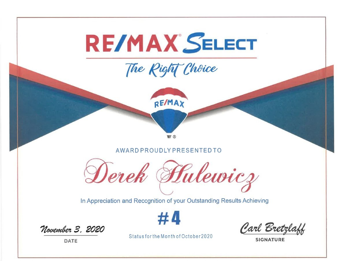 derek hulewicz top selling real estate agent in edmonton in october of 2020