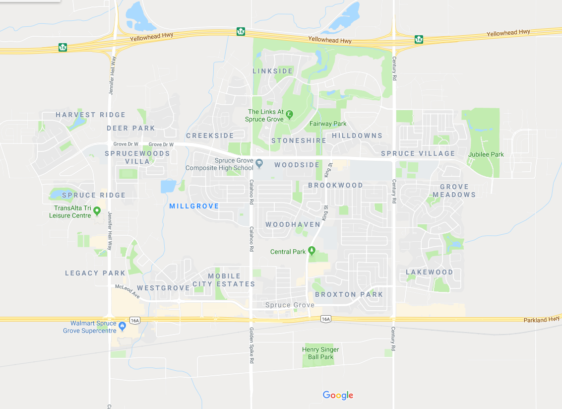 spruce grove google map of real estate