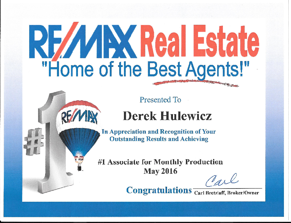 top remax realtor in may of 2016 derek hulewicz