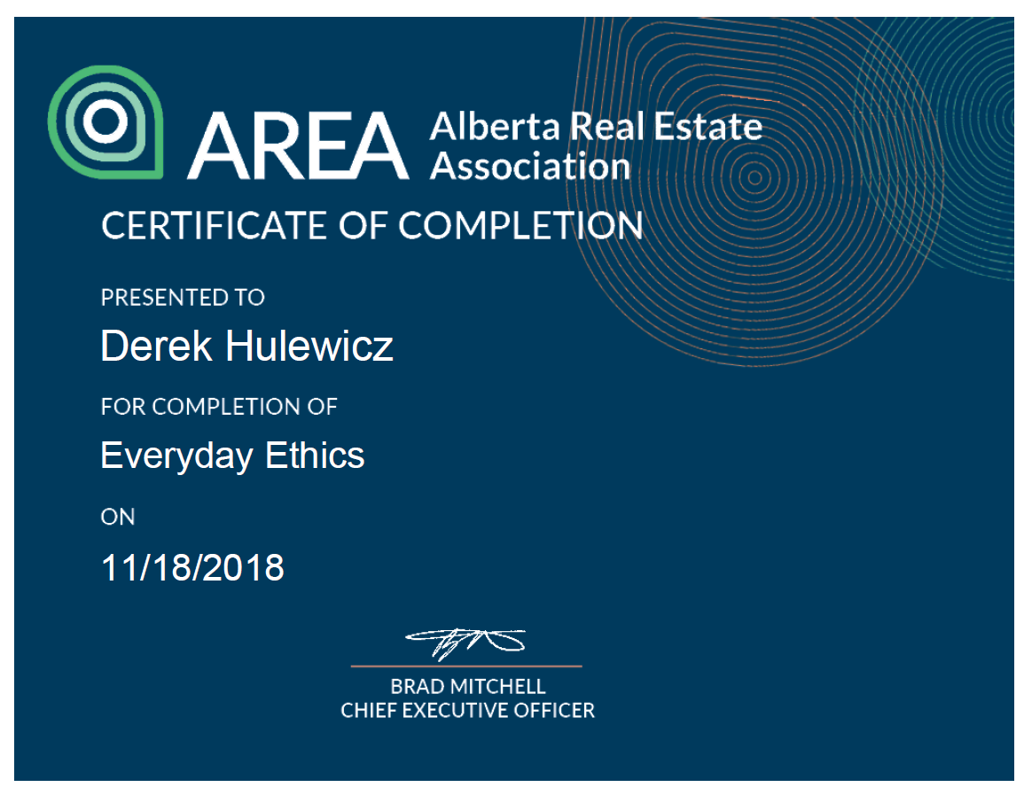 real estate ethics course certificate derek hulewicz