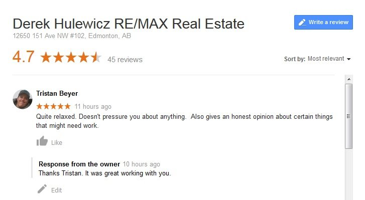 google review for derek hulewicz real estate services