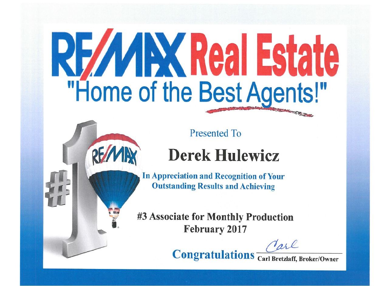 top remax realtor in february 2017 derek hulewicz